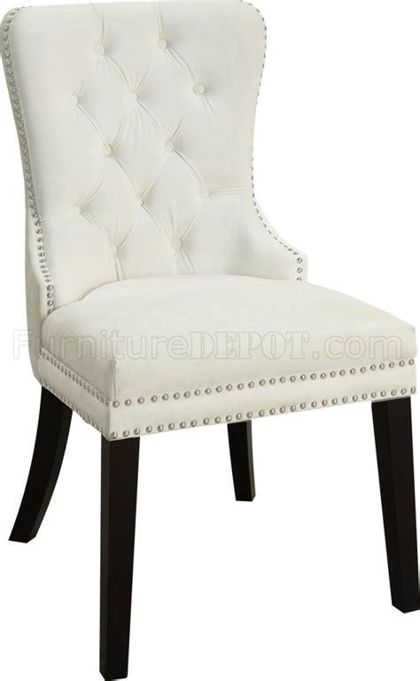nikki dining chair  set   cream velvet fabric