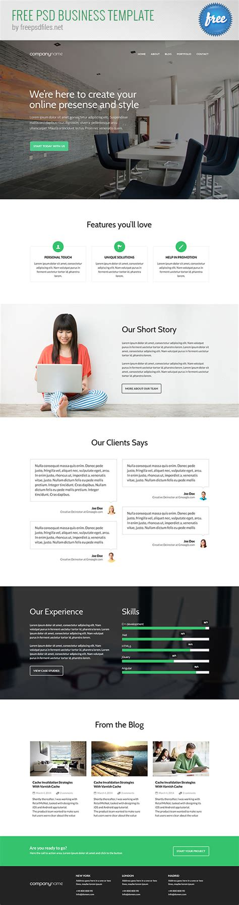 business website templates free free psd business website template