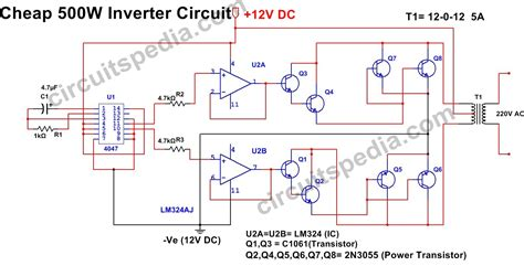 50hz 220v Wiring Diagram by 500w Inverter Circuit 12v Dc To 220v Ac Inverter Circuit