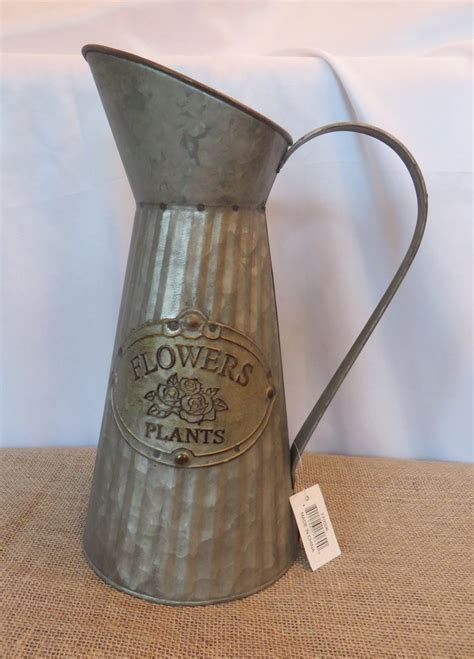 vintage style tall distressed galvanized metal pitcher