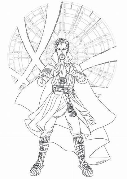 Coloring Strange Pages Dr Doctor Divergent Marvel