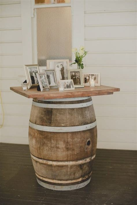 Wine Barrels For Memorial Table At Rustic Weddings