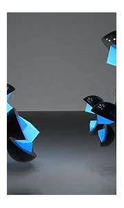 Abstract 3d cg digital art shapes contrast black blue ...