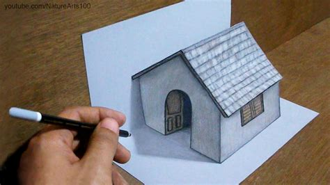 trick art drawing  tiny house  paper youtube