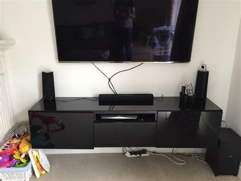 Besta Wall Mount by Ikea Besta Wall Mounted Tv Stand Black Gloss In