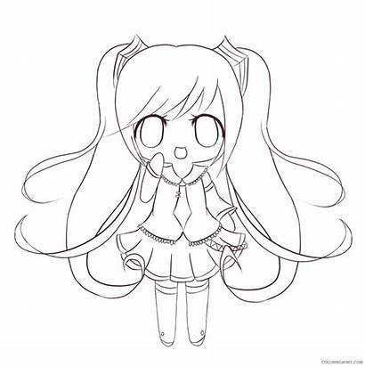 Chibi Coloring Anime Pages Miku Drawing Coloring4free