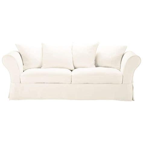 canapé blanc 3 places canapé blanc 3 4 places roma maisons du monde