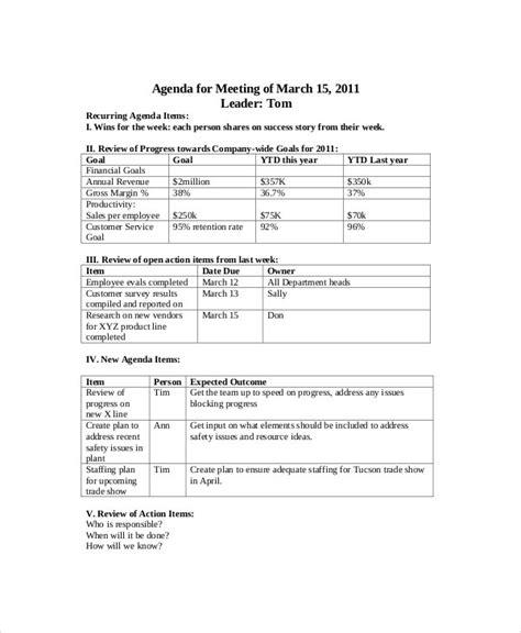sales meeting agenda template   word