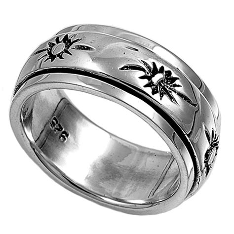 sterling silver womans mens spinner sun ring beautiful