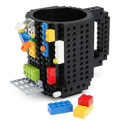 Drinkware Mugs 1Piece Build On Brick creative Mug Lego Type Building Blocks Coffee Cup DIY Block