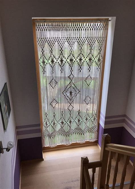 large macrame curtain macrame wall hanging long macrame