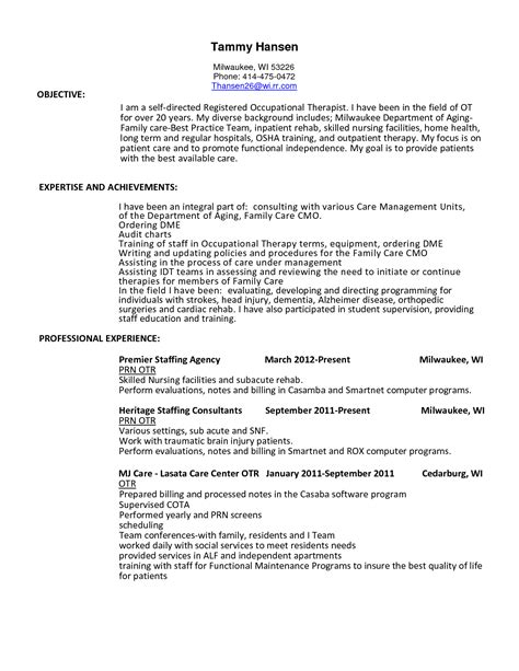 Cota Resume by 99 Ot Resume Exles Occupational Therapy Resume