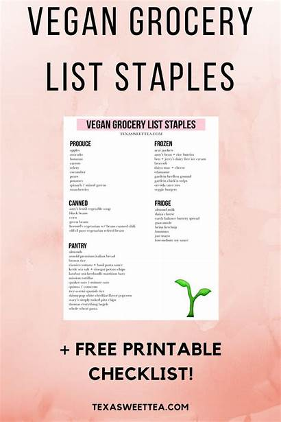Vegan Staples Grocery Printable Checklist Lists Vegetarian