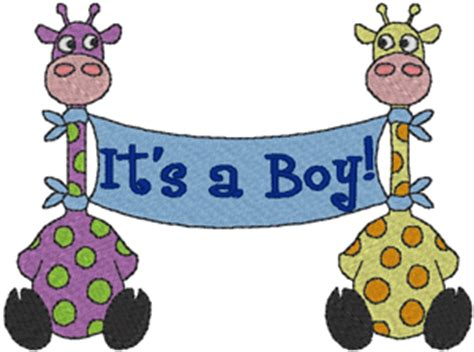 boy giraffe banner embroidery design