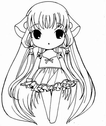 Coloring Anime Chibi Pages Template Templates Colouring