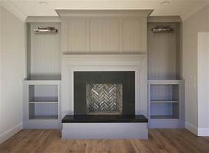 fireplace with gray built ins transitional living room With what kind of paint to use on kitchen cabinets for wall art fireplace