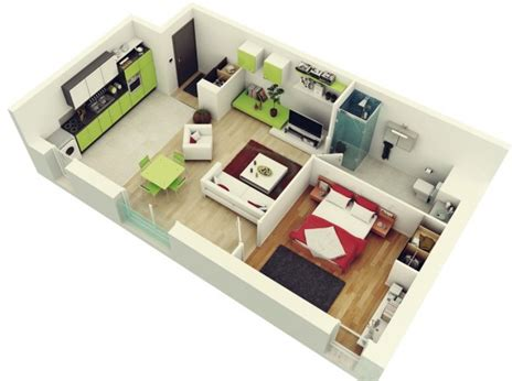 plan chambre 3d 50 plans en 3d d appartement avec 1 chambres plan