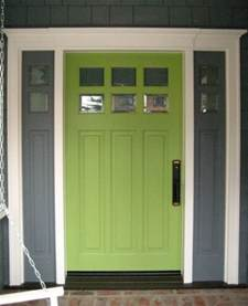 Green House with Front Door Colors