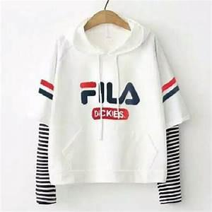 Hokyfashion Sweater Crop Hoodie Cewe Fila Fit To L