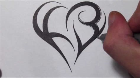 create  heart  letters tribal initials