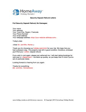 request letter  refund  security deposit  school