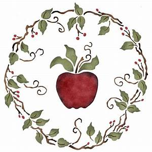 Country Apple Stencil Circular Vine With Leaves