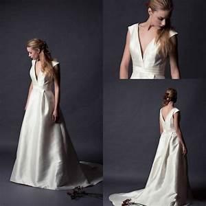 vintage 2015 alan hannah satin wedding dresses v neck cap With satin v neck wedding dress