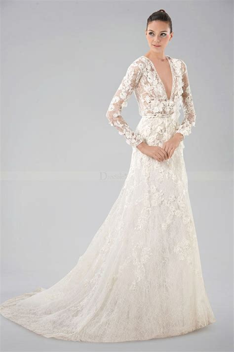 Breezy V Neckline Long Sleeve Wedding Gown With Lace