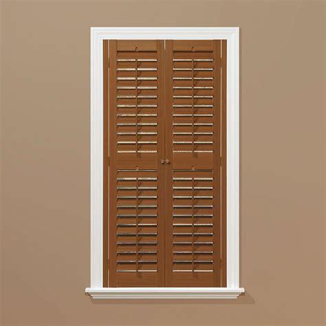 home depot wood shutters interior homebasics plantation faux wood oak interior shutter price varies by size qspb3560 the home