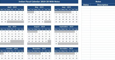 indian fiscal calendar    notes excel