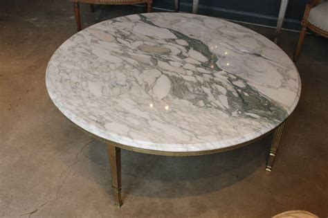 marble brass coffee table mid century round white marble and brass coffee or