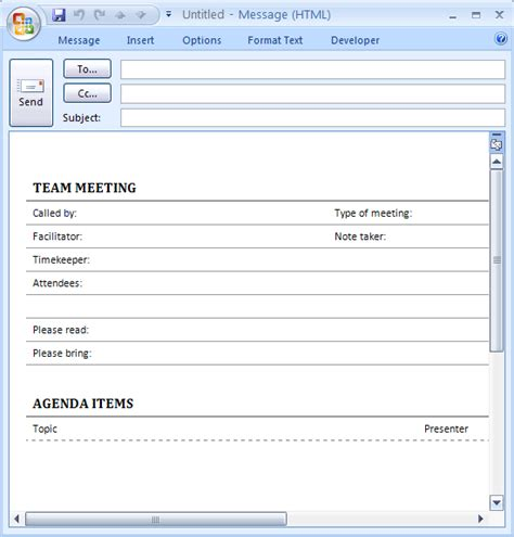 Outlook Meeting Minutes Template by Outlook Meeting Invitation Template Baskan Idai Co