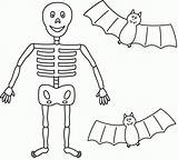 Skeleton Coloring Pages Drawing Easy Halloween Printable Human Scary Drawings Skeletons Template Skull Bone Getcolorings Clipart Bat Bats Cliparts Clip sketch template