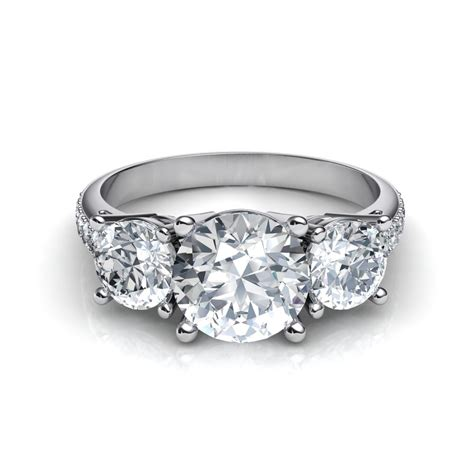 Trilogy 3 Stone Past Present Future Diamond Engagement Ring
