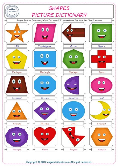 shapes esl printable english vocabulary worksheets