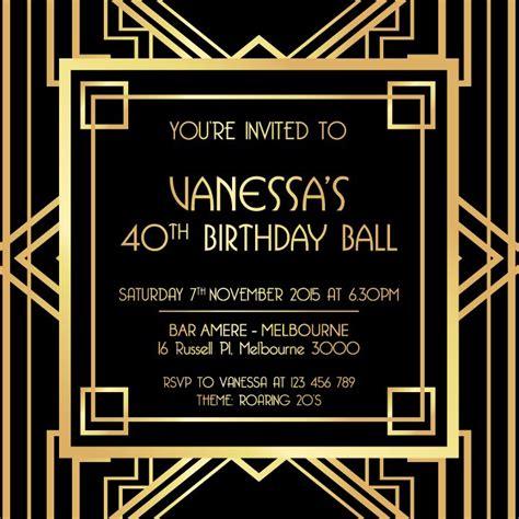 great gatsby invitation black  gold   great