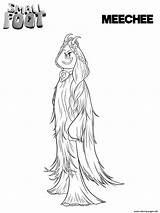 Smallfoot Coloring Meechee Pages Printable Print Feet Cartoon Movie Bigfoot Migo Yeti Sheets Franny Fleem Scribblefun Books Getcoloringpages sketch template