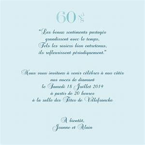 Faire Part Anniversaire 60 Ans : carte d 39 invitation anniversaire de mariage 60 ans color s ~ Edinachiropracticcenter.com Idées de Décoration