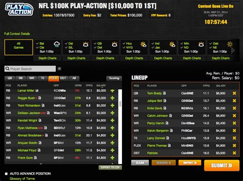 NFL $100K Play-Action Contest At DraftKings