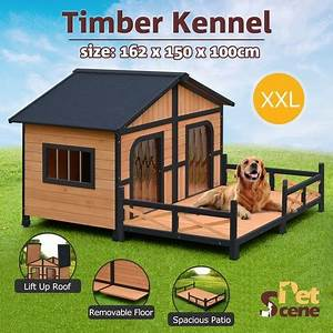 Xxl wooden dog kennel 2 door all weather pet house w patio for Xxl dog house