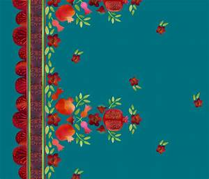 Pomegranates Border 1 on Teal - pinkyw - Spoonflower
