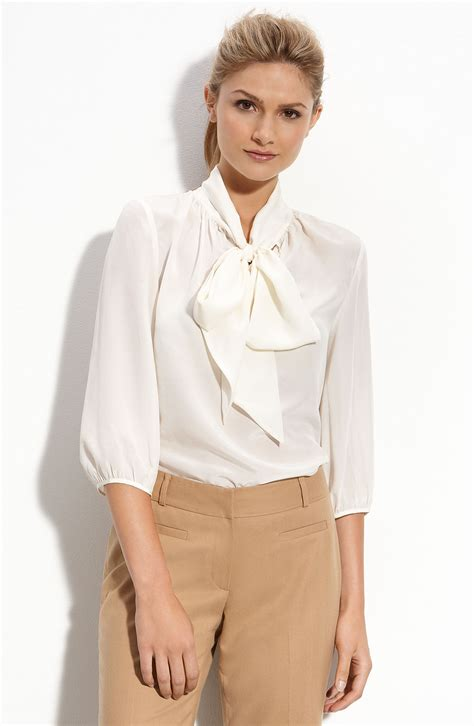 white blouse with bow classiques entier françoise silk bow blouse in white
