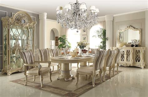 homey design  white  pc traditional dining room set