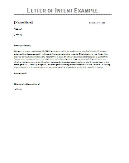 letter  intent examples letter  intent