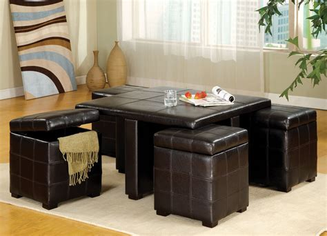 ottoman and coffee table get a compact and multi functional living room space by