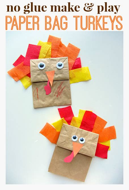 no glue turkey craft for thanksgiving no time for 730 | paper bag turkeys