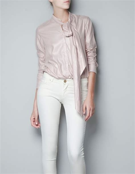 blouse with bow collar zara blouse with bow collar in pink lyst