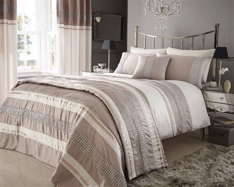 Cover Bedding by Beige Colour Stylish Lace Diamante Duvet Cover