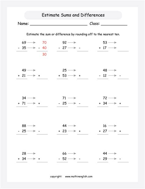 estimate fraction sums and differences worksheet