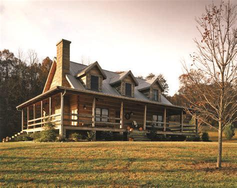 log cabin with wrap around porch exterior home designs